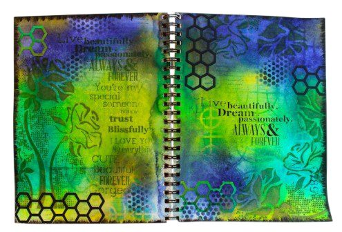 Art journal with Dulusions Ink Sprays - Marjie Kemper