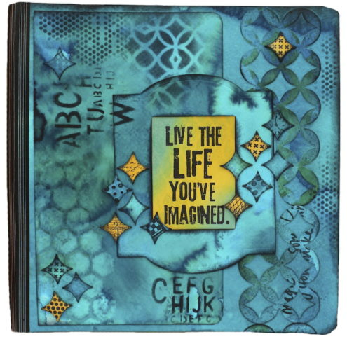 Marjie Kemper art journal with Dylusions - Live the Life
