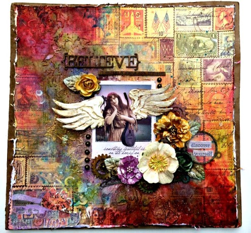 Mixed media scrapbook layout by Misty Russell via Marjie Kemper's Tuesday's Tutorials Blog Series, Week 18