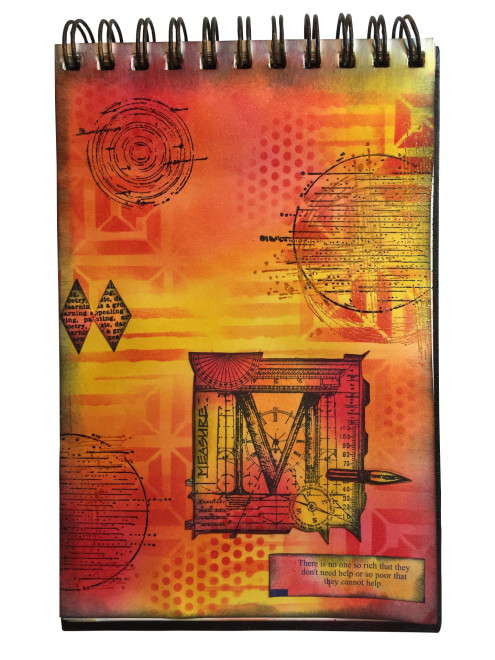 Marjie Kemper art journal with Distress Inks + Stencils A