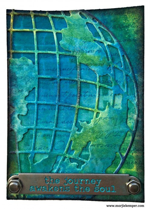 ATC tutorial with Tim Holtz Globe die (Marjie Kemper)