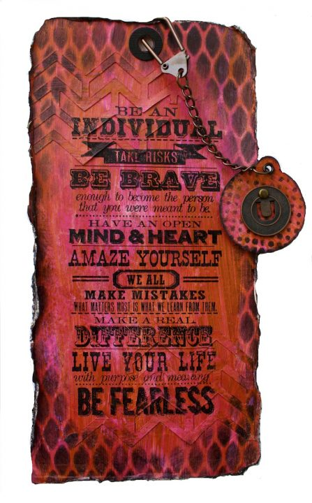 One Stamp Many Ways - see this Tim Holtz sentiment stamp used four ways - on tags and art journal pages (Marjie Kemper)