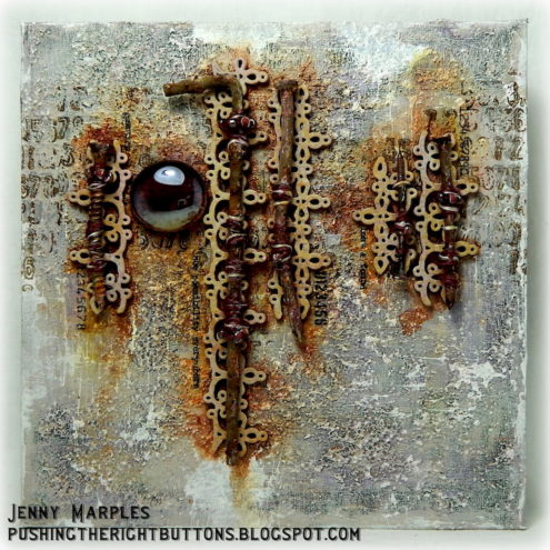 Mixed media art canvas - Made by Jenny Marples - featured on Two Friends' Favorite Blog Posts (Marjie Kemper)