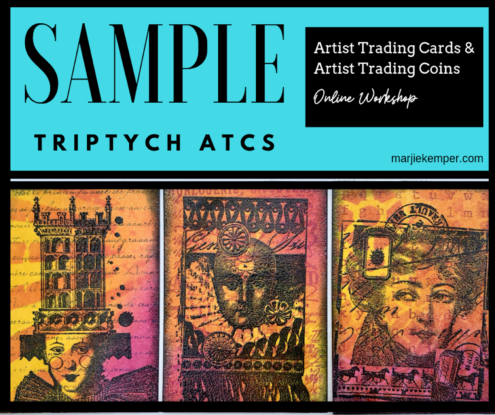 ATCs that are grouped into a triptych - Artist Trading Cards and Artist Trading Coins Online Workshop with Marjie Kemper