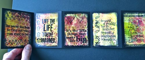 Accordion fold mini album with ATCs and Distress Stains - Marjie Kemper