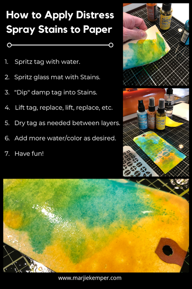 how to apply distress spray stains to paper instructions image
